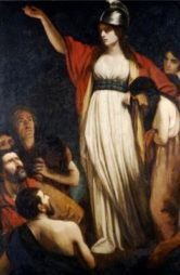 Queen Boudica in John Opie's painting Boadicea Haranguing the Britons